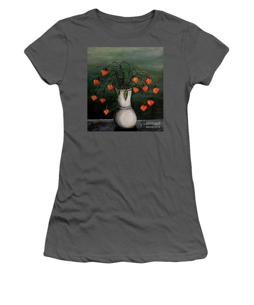 Women's T-Shirt (Junior Cut) featuring the painting Crazy Red Flowers by Judy Kirouac