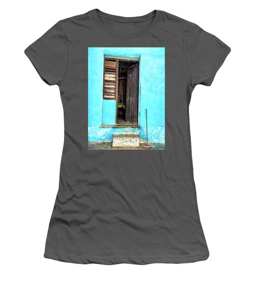 Crooked Blue Women's T-Shirt (Athletic Fit)