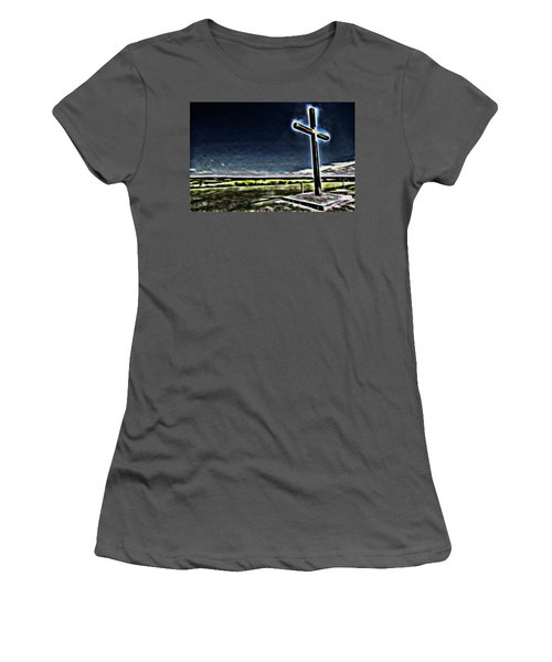 Cross On The Hill Women's T-Shirt (Junior Cut) by Douglas Barnard