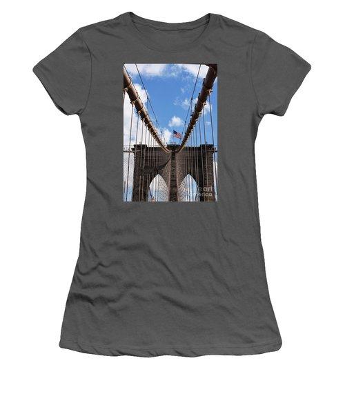Crossing The Brooklyn Bridge Women's T-Shirt (Junior Cut) by Judy Wolinsky
