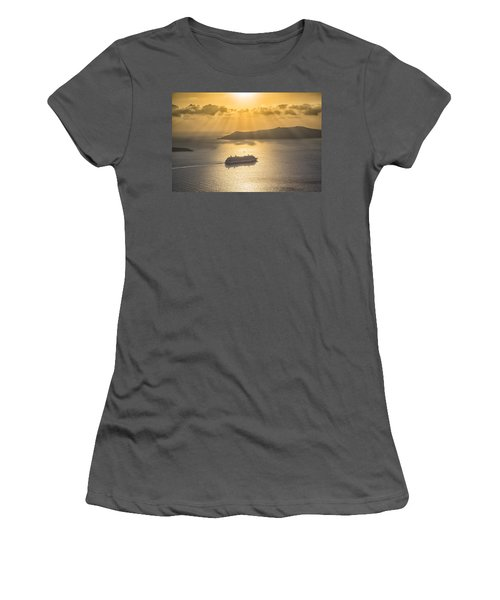 Women's T-Shirt (Junior Cut) featuring the tapestry - textile Cruise Ship In Greece by Kathy Adams Clark