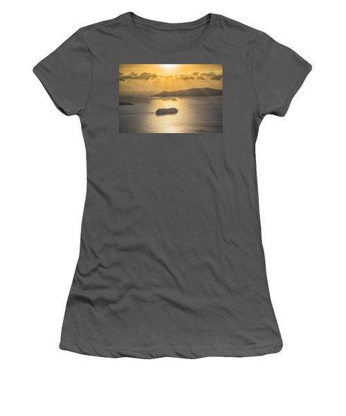 Cruise Ship In Greece Women's T-Shirt (Junior Cut) by Kathy Adams Clark