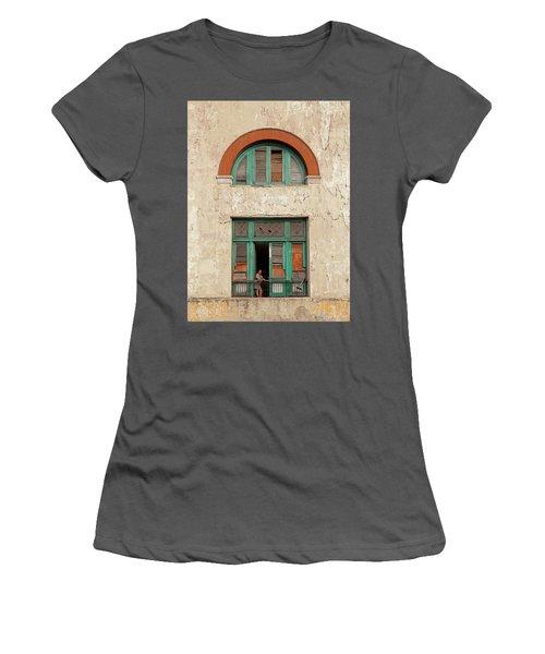 Women's T-Shirt (Junior Cut) featuring the photograph Cuban Woman On San Pedro Balcony Havana Cuba by Charles Harden