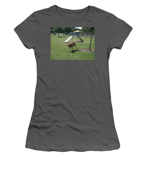 Cujo At The Park Women's T-Shirt (Junior Cut) by Val Oconnor