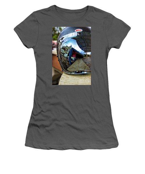 Women's T-Shirt (Junior Cut) featuring the photograph Cyclist's View Of Biblian Church by Al Bourassa