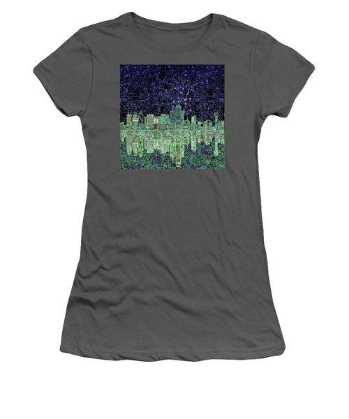 Dallas Skyline Abstract 4 Women's T-Shirt (Junior Cut) by Bekim Art