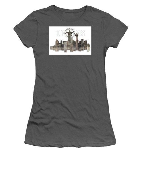 Dallas Texas Skyline Women's T-Shirt (Junior Cut) by Doug Kreuger