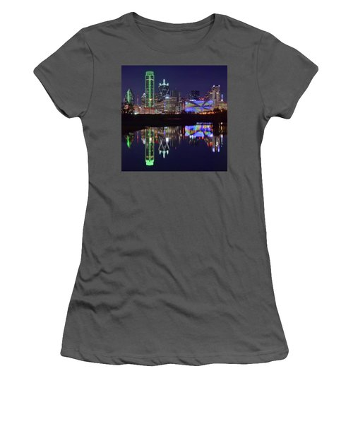 Women's T-Shirt (Junior Cut) featuring the photograph Dallas Texas Squared by Frozen in Time Fine Art Photography
