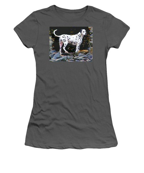 Dalmatian On The Rocks Women's T-Shirt (Junior Cut) by Wendy McKennon