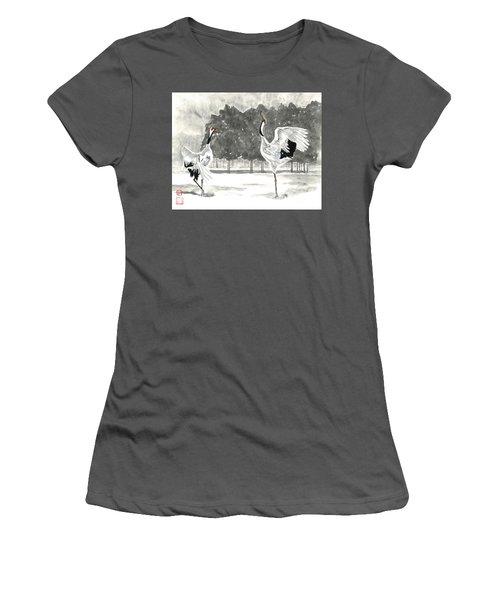 Dancing Crane II Women's T-Shirt (Athletic Fit)