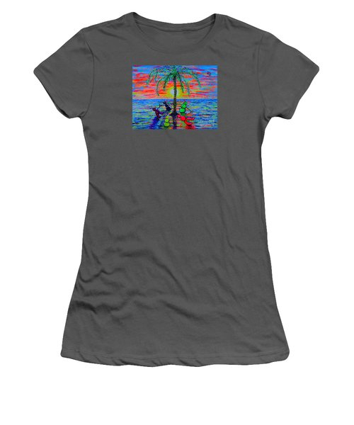 Women's T-Shirt (Junior Cut) featuring the painting Dancing Snowman by Viktor Lazarev