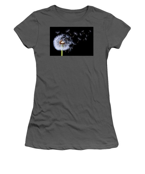 Dandelion Blowing On Black Background Women's T-Shirt (Junior Cut) by Bess Hamiti