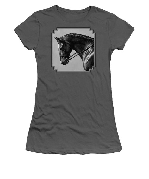 Dark Brown Dressage Horse Black And White Women's T-Shirt (Athletic Fit)
