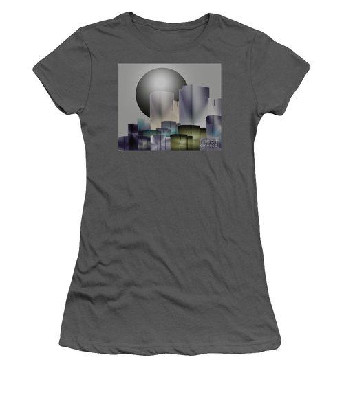 Women's T-Shirt (Junior Cut) featuring the digital art Dark Moon Over The City by John Krakora