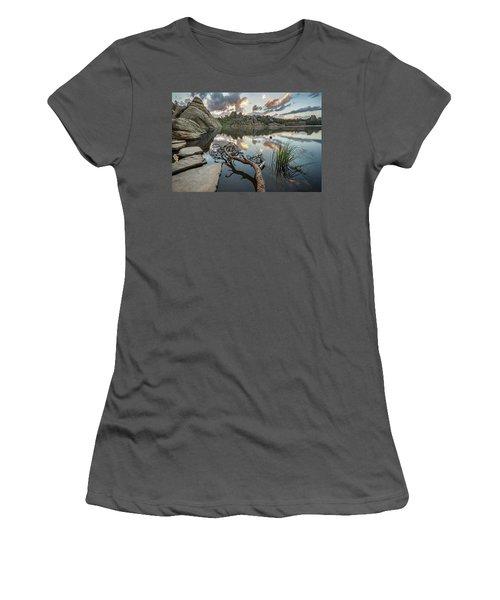 Women's T-Shirt (Junior Cut) featuring the photograph Dawn At Sylvan Lake by Adam Romanowicz