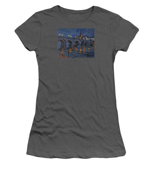 December Lights Old Bridge Maastricht Acryl Women's T-Shirt (Junior Cut) by Nop Briex