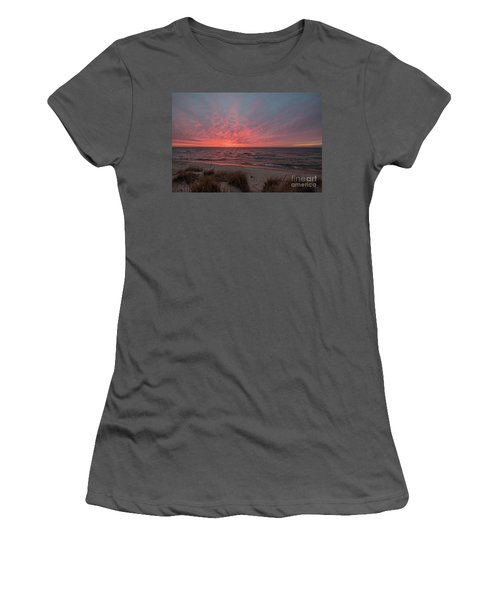 December Sunset On Lake Michigan Women's T-Shirt (Athletic Fit)