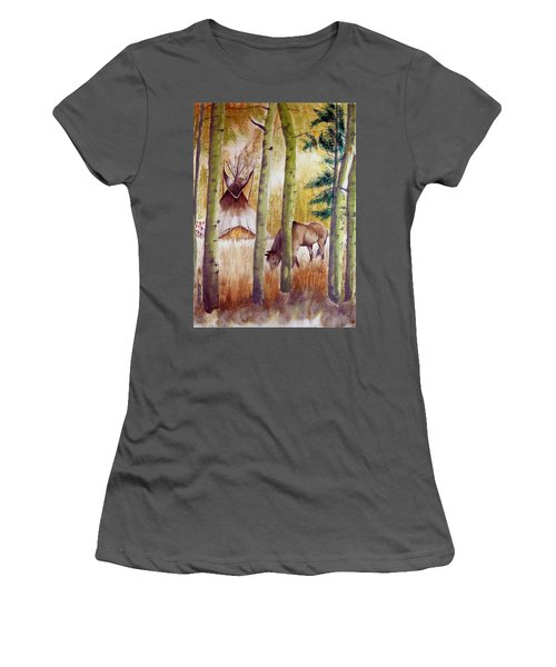 Deep Woods Camp Women's T-Shirt (Junior Cut) by Jimmy Smith