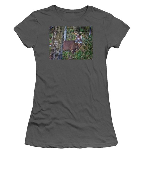 Deer In The Woods Women's T-Shirt (Athletic Fit)