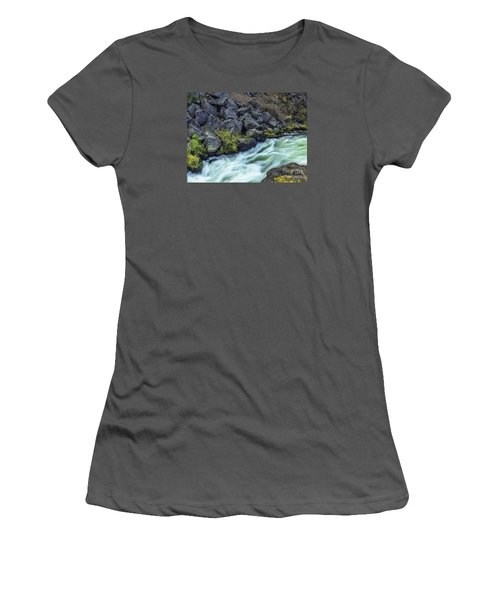 Women's T-Shirt (Junior Cut) featuring the photograph Deluge At The Falls by Nancy Marie Ricketts