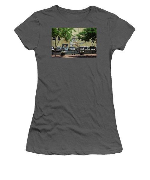 Women's T-Shirt (Junior Cut) featuring the photograph Denver Cowboy Parking by Frank Romeo