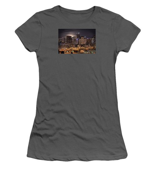 Denver Skyline At Night Women's T-Shirt (Junior Cut) by Juli Scalzi
