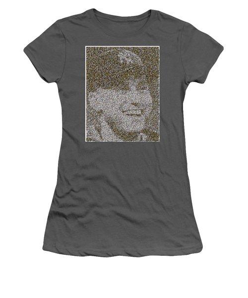 Women's T-Shirt (Junior Cut) featuring the mixed media Derek Jeter Baseballs Mosaic by Paul Van Scott