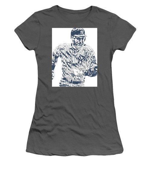Derek Jeter New York Yankees Pixel Art 12 Women's T-Shirt (Athletic Fit)