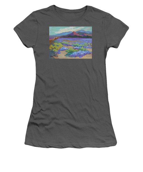 Women's T-Shirt (Junior Cut) featuring the painting Desert In Bloom by Diane McClary