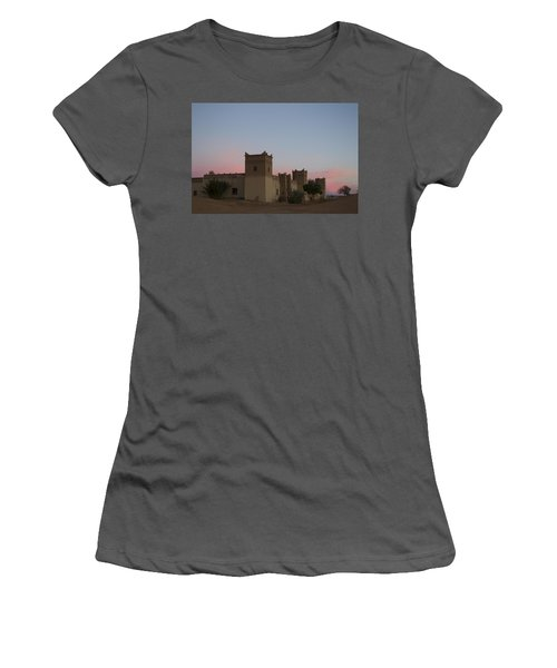 Women's T-Shirt (Junior Cut) featuring the tapestry - textile Desert Kasbah Morocco by Kathy Adams Clark