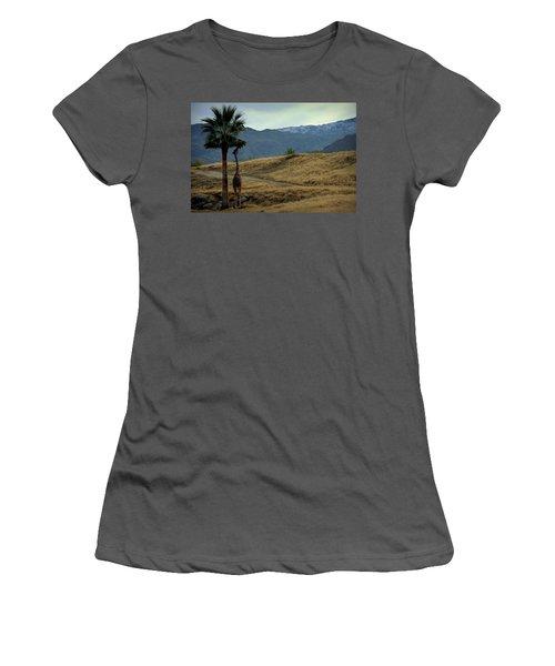 Desert Palm Giraffe 001 Women's T-Shirt (Junior Cut) by Guy Hoffman