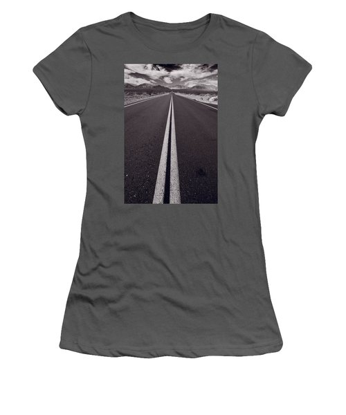Desert Road Trip B W Women's T-Shirt (Athletic Fit)