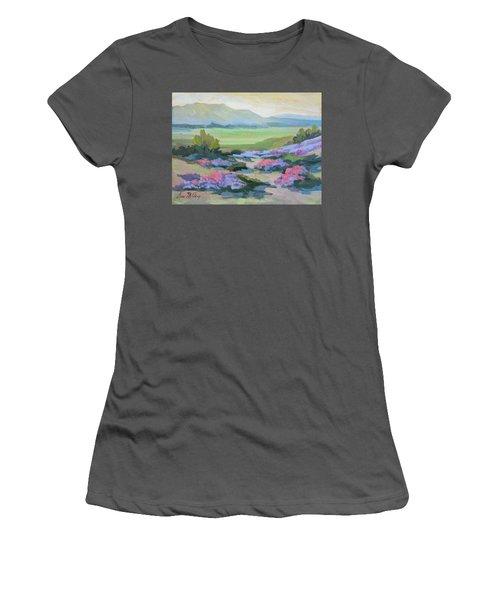 Women's T-Shirt (Junior Cut) featuring the painting Desert Verbena 1 by Diane McClary