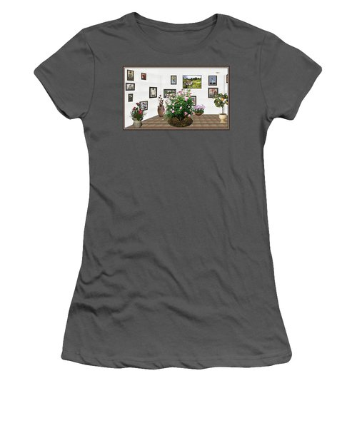 Women's T-Shirt (Junior Cut) featuring the mixed media Digital Exhibition _ Roses Blossom 22 by Pemaro