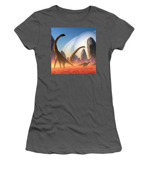 Dinosaur Moon Women's T-Shirt (Athletic Fit)