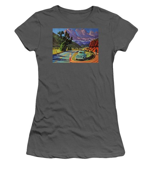 Women's T-Shirt (Junior Cut) featuring the painting Divergent Paths by Art West