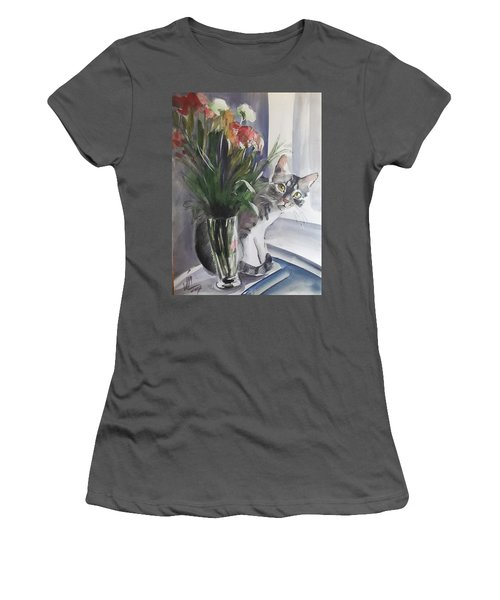 Do You See Me? Pet Portrait In Watercolor .modern Cat Art With Flowers  Women's T-Shirt (Athletic Fit)