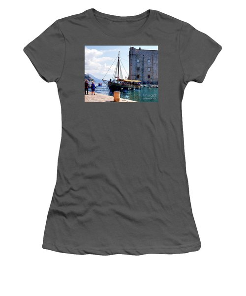 Docking In Dubrovnik Harbour Women's T-Shirt (Athletic Fit)