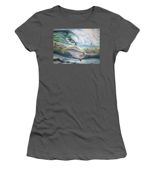 Dolphin 2 Women's T-Shirt (Junior Cut) by William Love