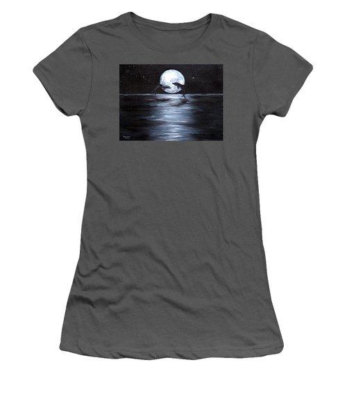 Dolphins Dancing Full Moon Women's T-Shirt (Junior Cut) by Bernadette Krupa