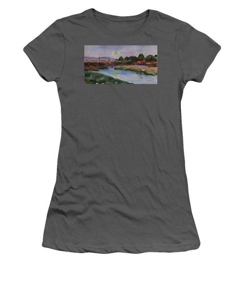 Women's T-Shirt (Athletic Fit) featuring the painting Don Edwards San Francisco Bay National Wildlife Refuge Landscape 1 by Xueling Zou