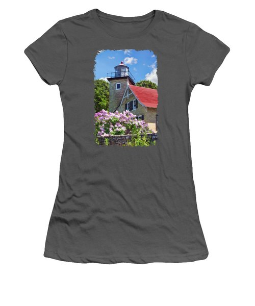 Women's T-Shirt (Athletic Fit) featuring the painting Door County Eagle Bluff Lighthouse Lilacs by Christopher Arndt