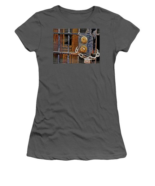 Women's T-Shirt (Athletic Fit) featuring the mixed media Double Locked by Lynda Lehmann