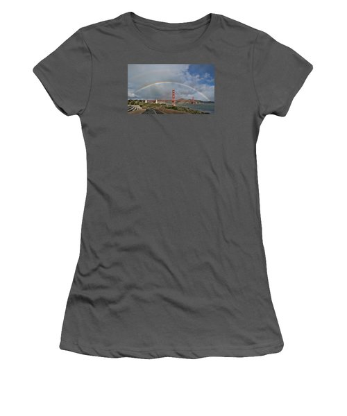 Women's T-Shirt (Athletic Fit) featuring the photograph Double Rainbow Golden Gate Bridge by Steve Siri