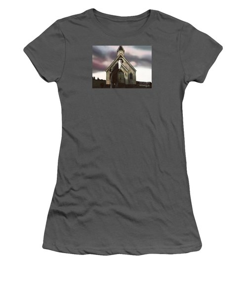 Women's T-Shirt (Junior Cut) featuring the painting Doubt Or Faith by Dave Luebbert