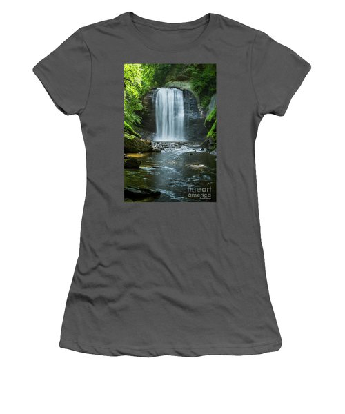 Women's T-Shirt (Junior Cut) featuring the photograph Downstream Shade Looking Glass Falls Great Smoky Mountains Art by Reid Callaway