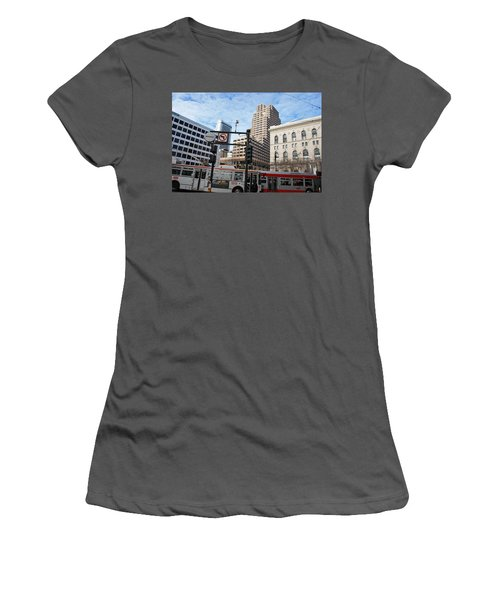 Downtown San Francisco - Market Street Buses Women's T-Shirt (Junior Cut) by Matt Harang