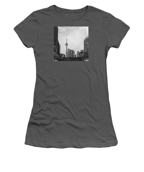 Downtown Toronto In Bw Women's T-Shirt (Athletic Fit)