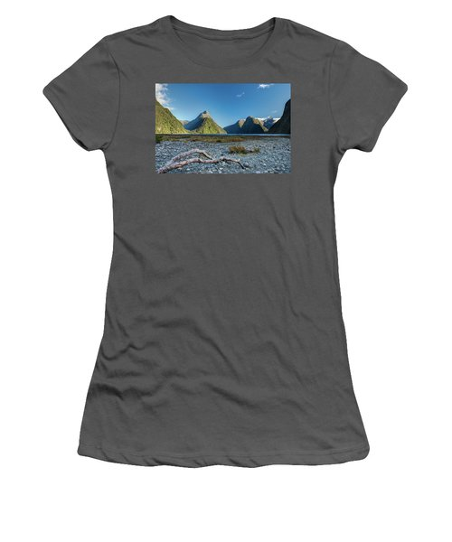 Women's T-Shirt (Athletic Fit) featuring the photograph Driftwood In Milford Sound by Gary Eason