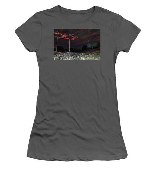Drone Flowers Women's T-Shirt (Junior Cut) by Andrew Nourse